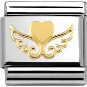 Gold Angel Wing Heart