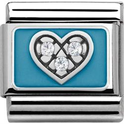 Silver and Blue Heart Charm