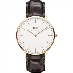 Daniel Wellington York Brown Croc Leather Rose Gold Gents Watch