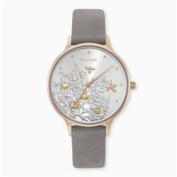 Rose Gold Tree of Life Watch with Grey Leather Strap