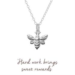 Mantra Bee Necklace in Silver