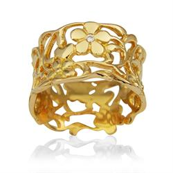 Gold Wide Foliage Ring Size P