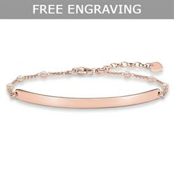 Rose Gold CZ Engravable Bracelet 19.5cm