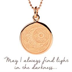 Mantra Sun and Moon Necklace in Rose Gold on card
