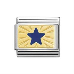 Gold Blue Star Charm