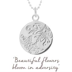 Bloom Flower Disc Necklace in Sterling Silver