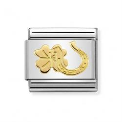 Gold Horseshoe and Clover Charm
