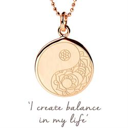 Balance Yin Yang Disc Necklace in Rose Gold