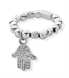 Decorated Silver Hamsa Ring Standard