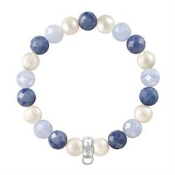Blue Chalcedony Pearl Mix Large Bracelet