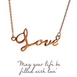 Love Script Necklace in Rose Gold