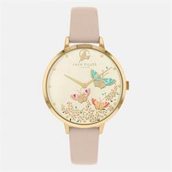Pink Leather Watch, Gold with Butterflies