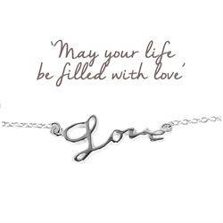 Love Script Bracelet in Silver