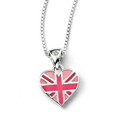Pink Union Jack Children's Heart Necklace