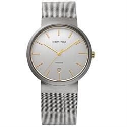 Classic Silver and Gold Titanium Case Mens Watch