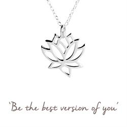 Lotus Flower Mantra Necklace in Silver