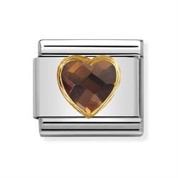 Nomination Faceted Smokey CZ Heart Charm