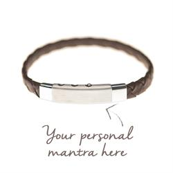 men's personalised mantra leather bracelet brown