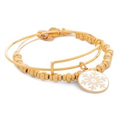Alex and Ani Snowflake Holiday Set (GET ONE FREE) in Shiny Gold Finish