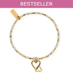 Yellow Gold and Silver Interlocking Heart Bracelet