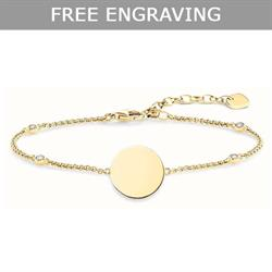 Gold CZ Disc Love Bridge Bracelet 19.5cm