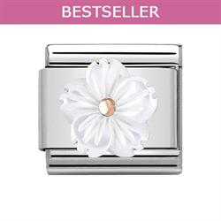 Rose Gold & White Mother of Pearl Flower Charm