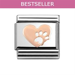 Rose Gold Paw Print Heart