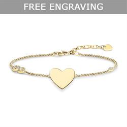 Gold CZ Infinity Heart Love Bridge Bracelet 19.5cm