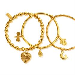 Gold Set of Three Happiness Bracelets