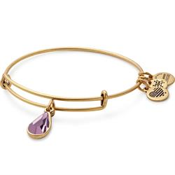 June Light Amethyst Birthstone bangle in Rafaelian Gold