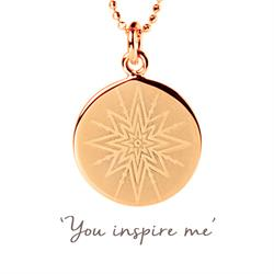 You Inspire Me Disc Necklace in Rose Gold