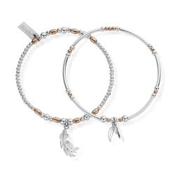 Rose Gold & Silver Strength Courage Set of 2 Bracelets