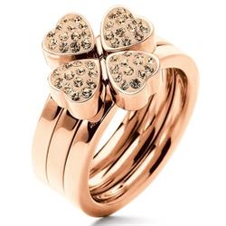 Folli Follie Set of 3 RG Heart Rings Size 54