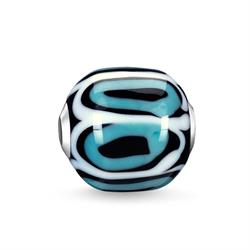 Turquoise White Glass Bead