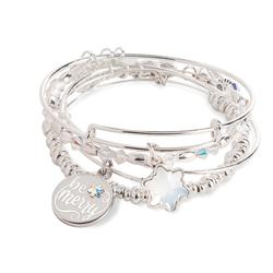 Be Merry bangles of 4 in Shiny Silver