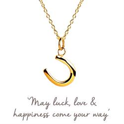 Mantra Horseshoe Necklace Gold