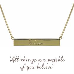 Gold Believe Bar Mantra Necklace
