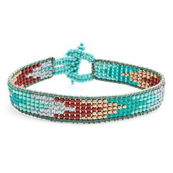 Turquoise Loom Chevron and Leather Cord Bracelet