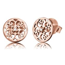 Filigree Stud CZ Earrings in Rose Gold