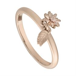 Rose Gold 6mm Daisy Feather Ring, Medium
