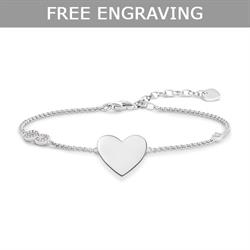 CZ Infinity Heart Love Bridge Bracelet 19.5cm