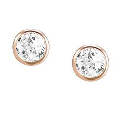 Bella Rose Gold Long Bloom CZ Drop Earrings