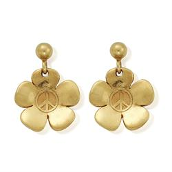 Peace Flower Gold Earrings