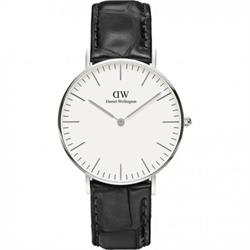 Reading Black Leather Strap Watch in Silver
