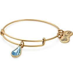 March Aquamarine Birthstone bangle in Rafaelian Gold Finish