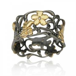 Black Wide Foliage Ring Size N