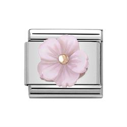 Classic Rose Gold Symbols Violet Mother of Pearl Flower Charm