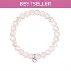 Rose Quartz Pearl M Charm Club Bracelet