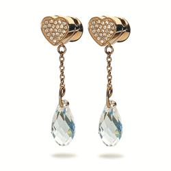 Folli Follie Eternal Rose Gold Heart Earrings