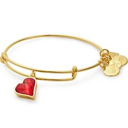 RED Charity Heart of Strength Bangle in Shiny Gold